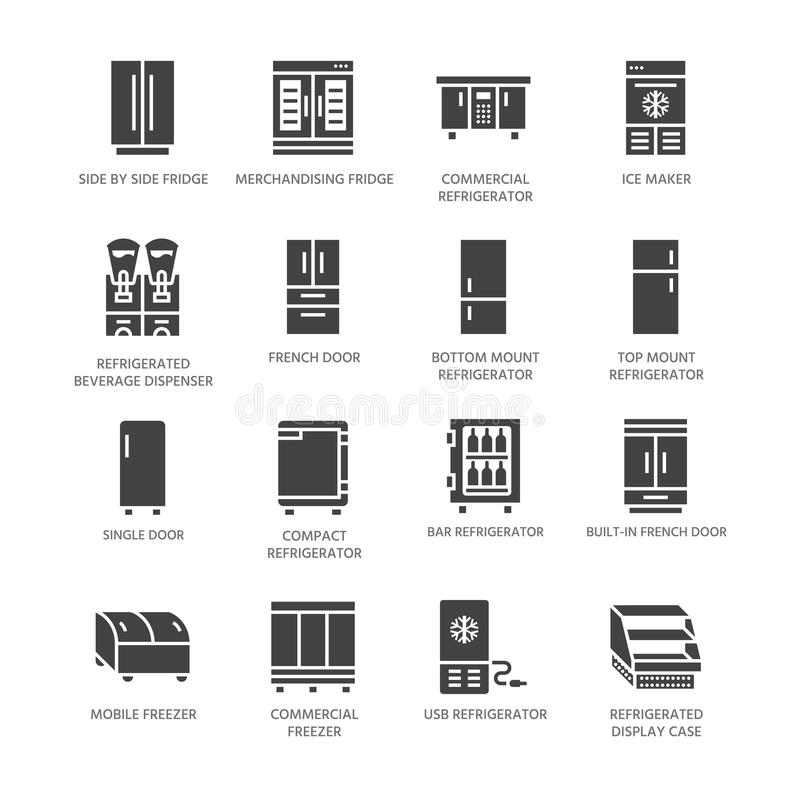 Refrigerators flat glyph icons. Fridge types, freezer, wine cooler, commercial major appliance, refrigerated display vector illustration