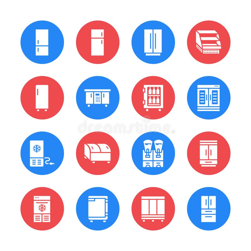 Refrigerators flat glyph icons. Fridge types, freezer, wine cooler, commercial major appliance, refrigerated display stock illustration