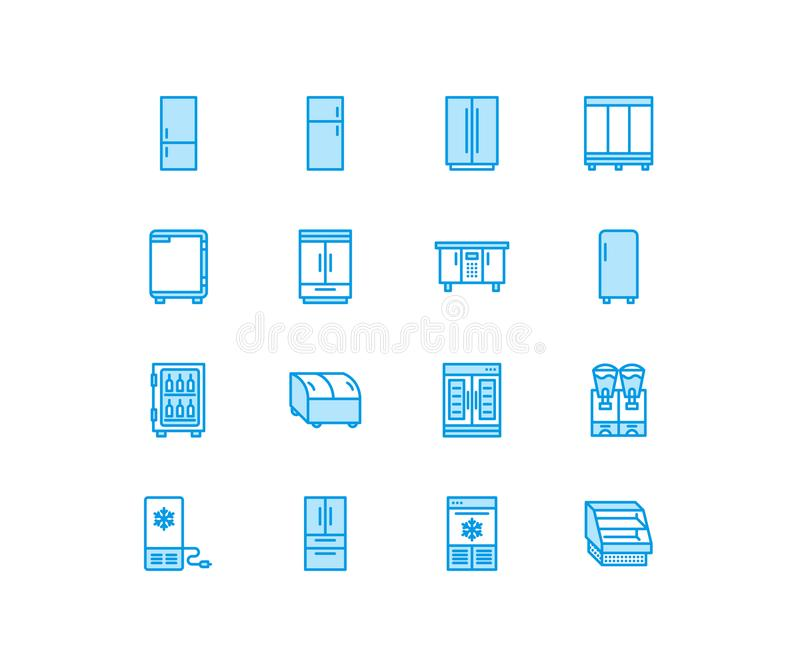 Refrigerators flat line icons. Fridge types, freezer, wine cooler, commercial major appliance, refrigerated display case. Thin linear signs for household stock illustration