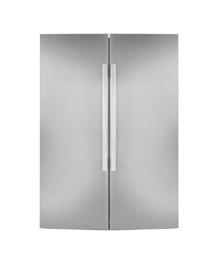 Refrigirator för två dörr som isoleras på vit royaltyfri foto