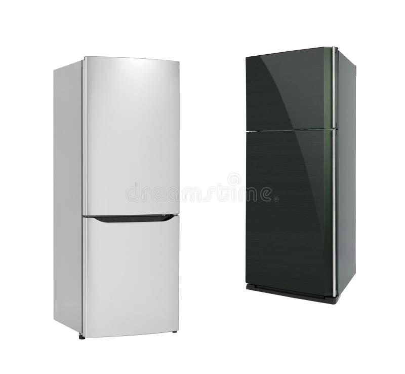 Refrigirators op wit wordt geïsoleerd dat stock foto's