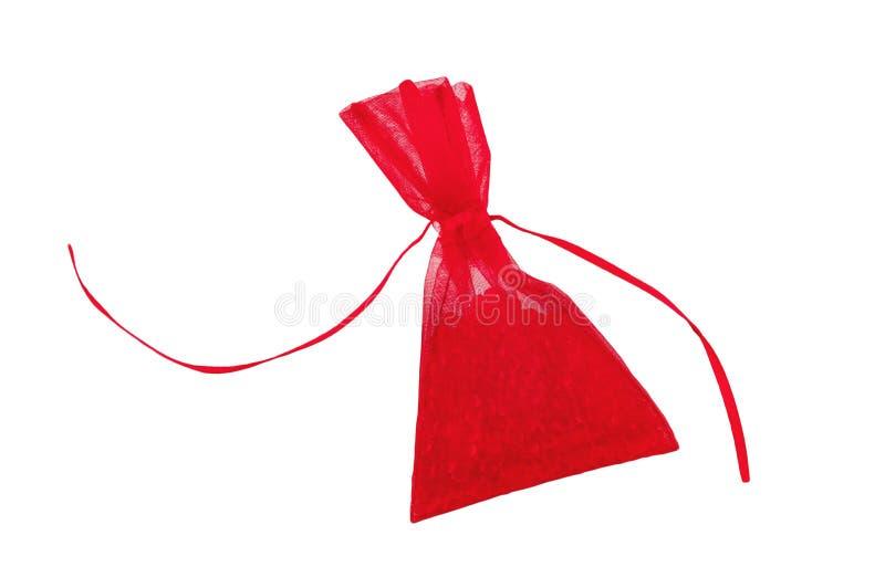 Refrogerador de ar do carro no formulário do saco vermelho completo das pedras preciosas isoladas no branco fotos de stock