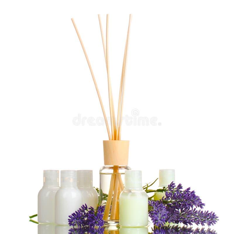 Refrogerador de ar, frascos e lavander fotografia de stock