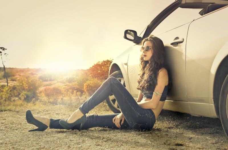 Refroidissement en la voiture photos libres de droits