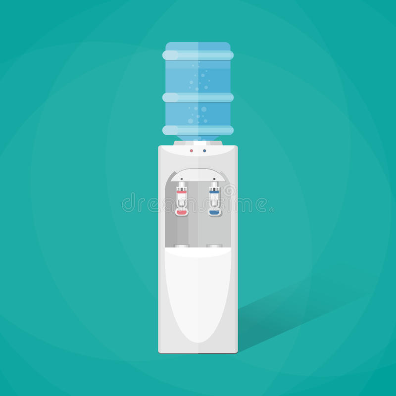 Refroidisseur d'eau gris avec la pleine bouteille bleue illustration libre de droits