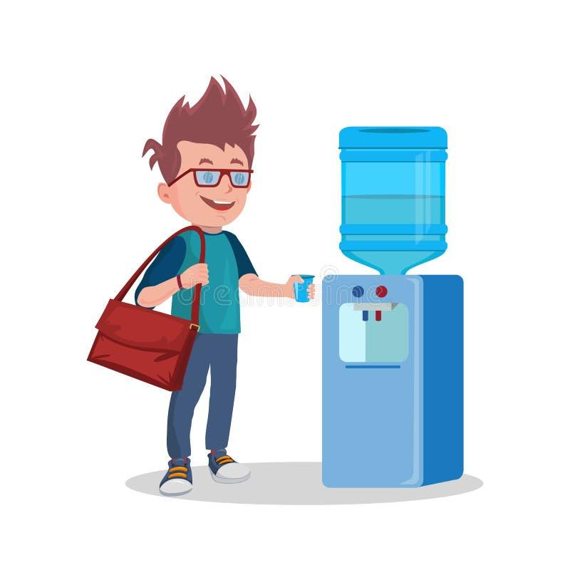 Refroidisseur et homme d'eau de vecteur avec la tasse illustration stock