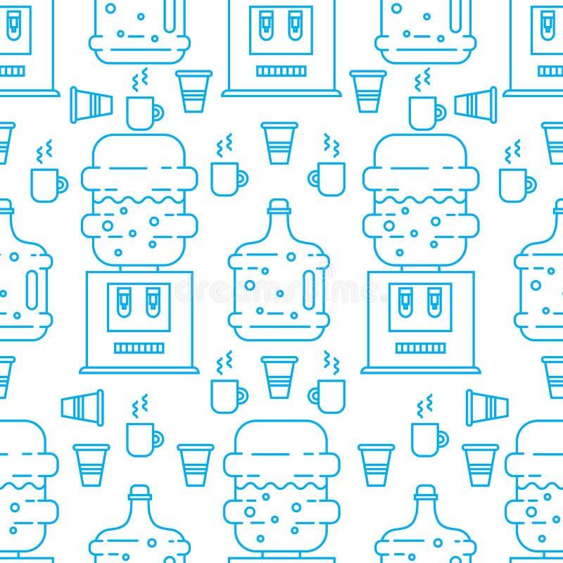 Refroidisseur et tasses d'eau illustration stock