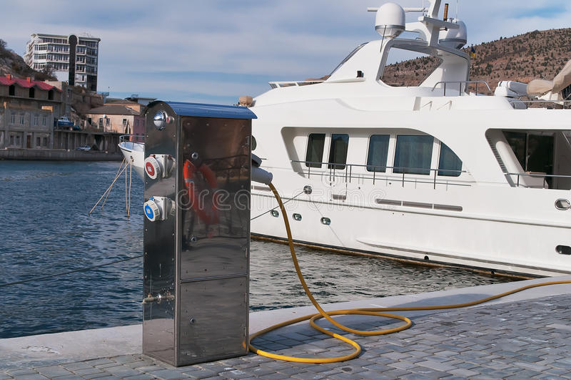 Refueling Of Motor Yachts Royalty Free Stock Photos