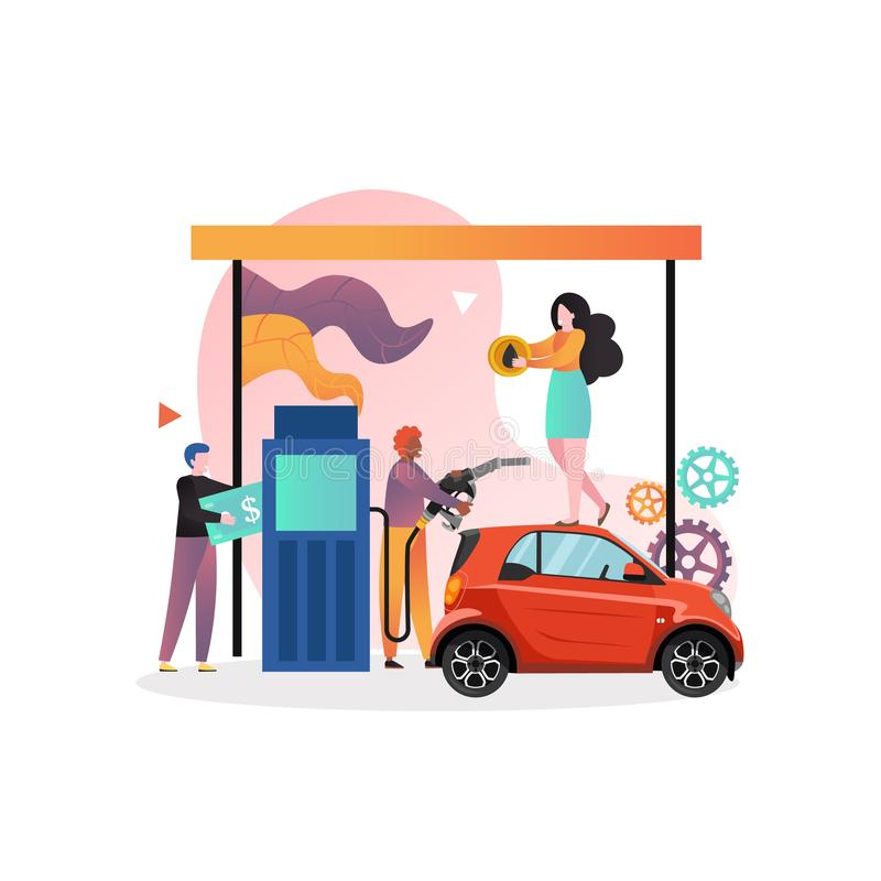 Refueling vector concept for web banner, website page. Petroleum station with male and female characters, vector illustration. Refueling car at fuel station stock illustration