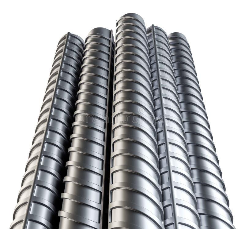 Refuerzos de acero Aislado en blanco stock de ilustración