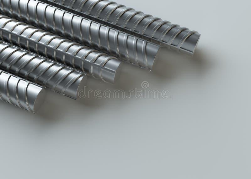 Refuerzos del metal, cierre para arriba representación 3d stock de ilustración