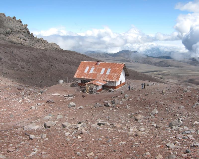 Refuge in Chimborazo National Park - Ecuador. Refuge by Chimborazo an inactive stratovolcano and the highest snowy mountain in Ecuador royalty free stock image