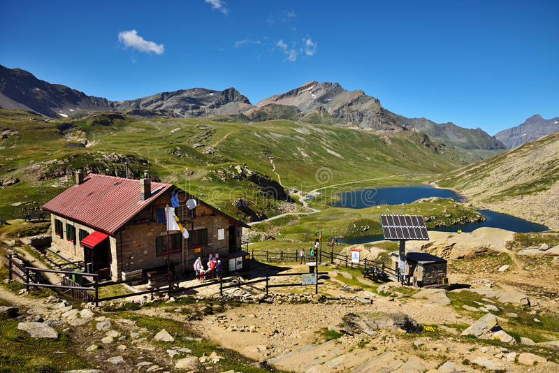 Refuge Cittàdi Chivasso, im Nationalpark Gran Paradiso - Italien stockbilder