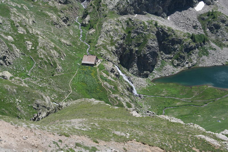 Refuge Lac DE Vens, Maritieme Alpen stock foto