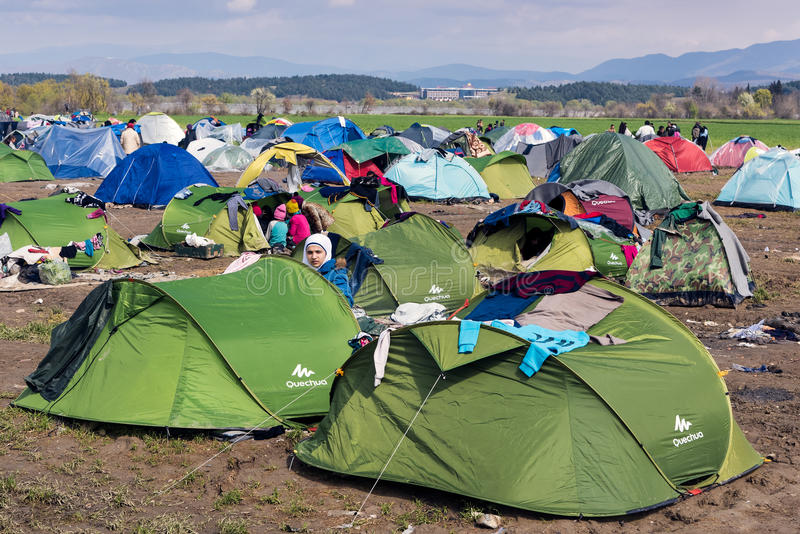 Refugee camp in Greece stock photography