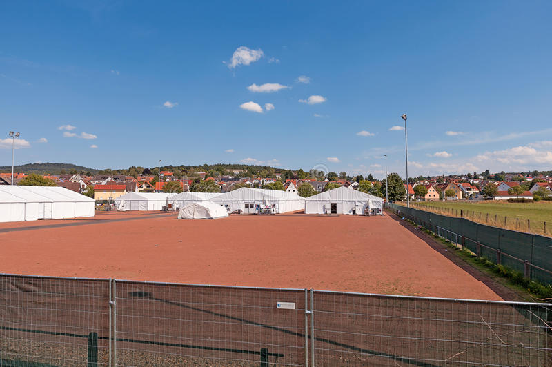 Refugee Camp Marburg. August 1, 2015 - Marburg, Hesse, Germany: Refugee camp at the football ground at the Cappel district of Marburg royalty free stock photography