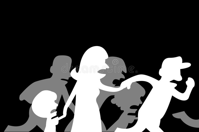 Refugee Families Feeling From the Violence Illustration. Refugee Families Feeling From the Violence Vector Illustration royalty free illustration
