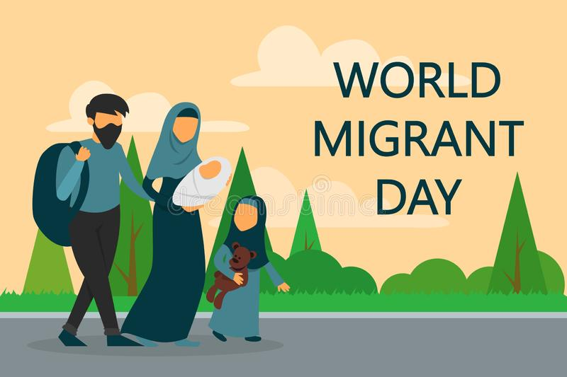 Refugee family walking on the road. World migrant day. War stock illustration