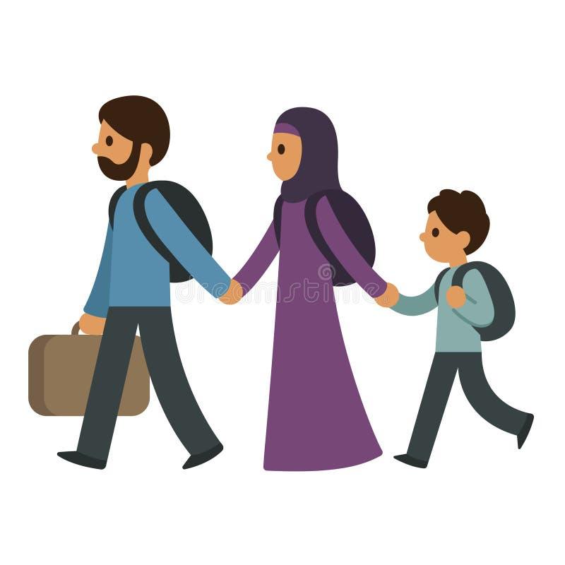 Refugee migrant family stock illustration