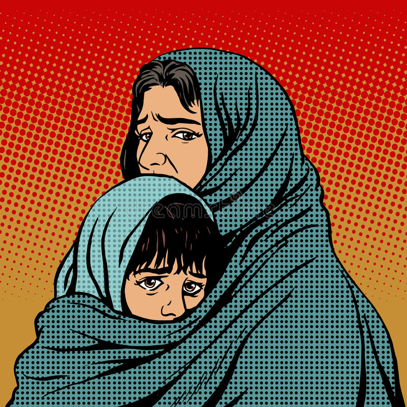 Refugee mother and child migration poverty vector illustration
