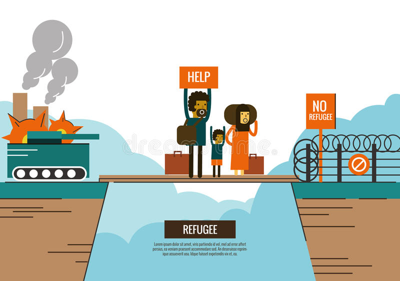 Refugee people on the bride between civil war and border Closed. stock illustration