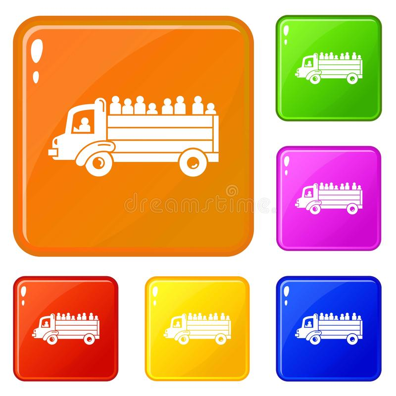 Refugee people truck icons set vector color royalty free illustration