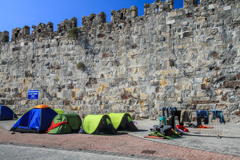 Refugee tents royalty free stock photo