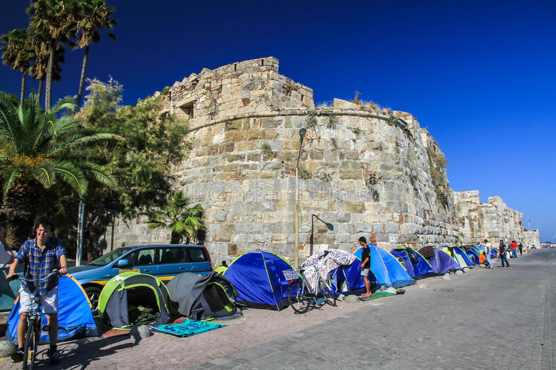 Refugee tents stock photography