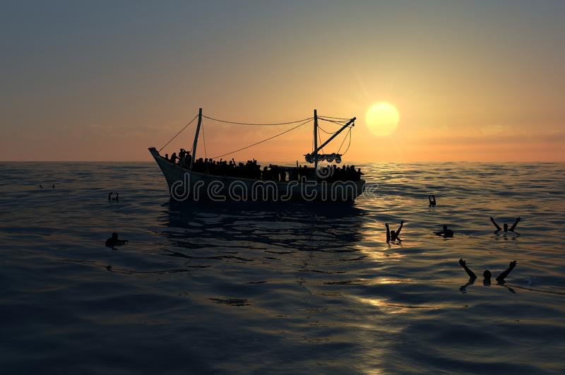 Refugees on a big boat in the middle of the sea that require help stock photos