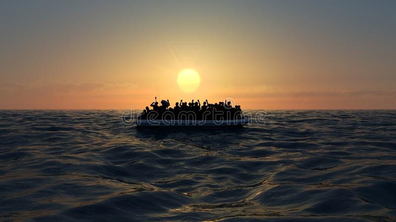 Refugees on a big rubber boat in the middle of the sea that require help vector illustration