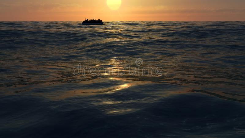 Refugees on a big rubber boat in the middle of the sea that require help stock illustration