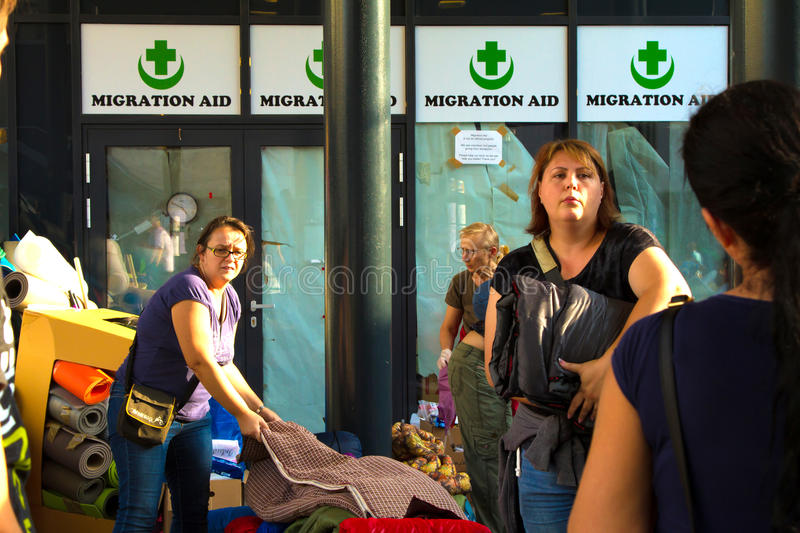 Refugees Crisis, in Budapest, Hungary on September 15th 2015. BUDAPEST, HUNGARY - SEPTEMBER 15TH, 2015: Refugees and immigrants stranded at Keleti Train Station royalty free stock photography