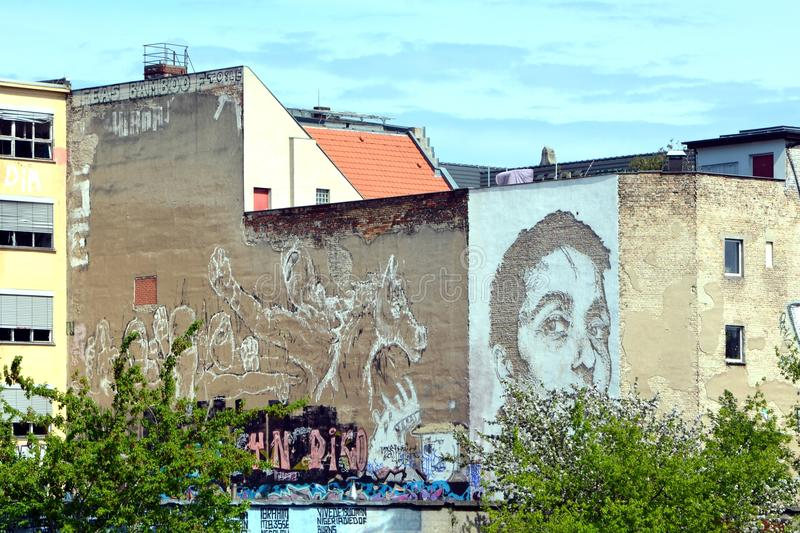 Refugees Graffiti in Berlin Germany royalty free stock image
