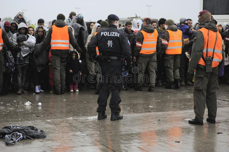 Refugees in Nickelsdorf, Austria. Image shows refugees at the Austrian border crossing Nickelsdorf in Burgenland in autumn 2015 royalty free stock photo