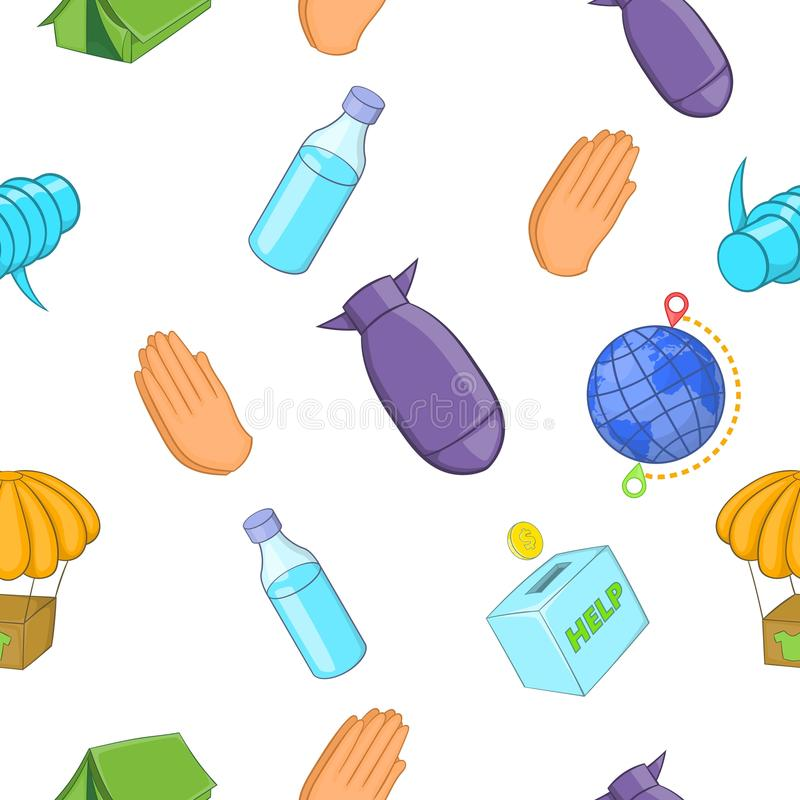 Refugees pattern, cartoon style royalty free illustration