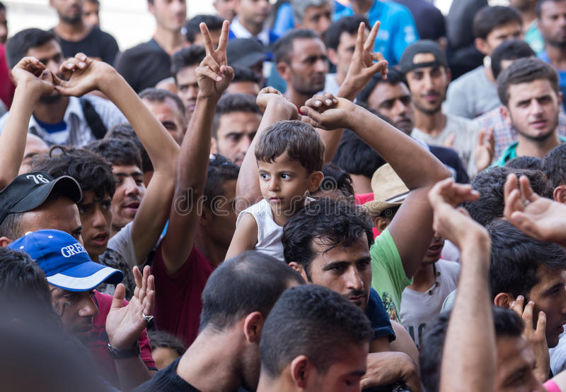 Refugees protest at Keleti train station royalty free stock images