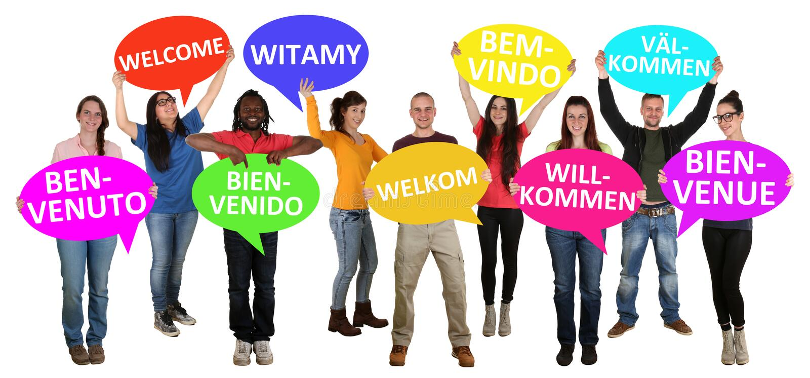 Refugees welcome in different languages group of young multi ethnic people stock image