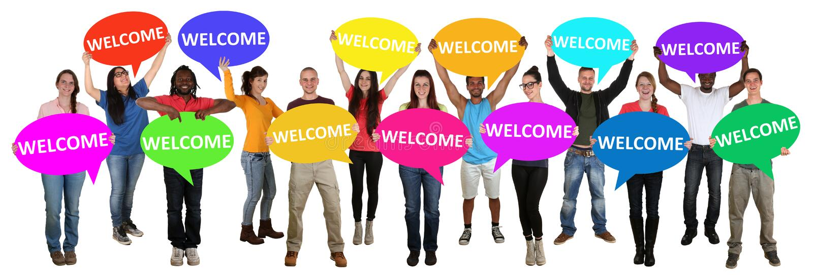 Refugees welcome group of young multi ethnic people holding speech bubbles royalty free stock image