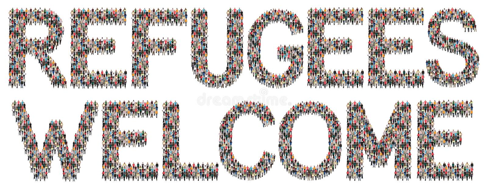 Refugees welcome immigrants multi ethnic group of people royalty free stock images