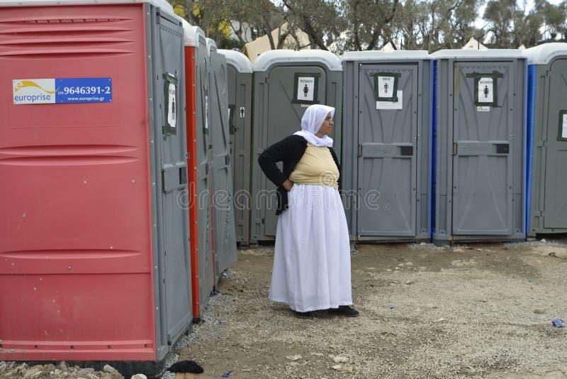 Refugeescamp Moria en Lesvos imagen de archivo libre de regalías