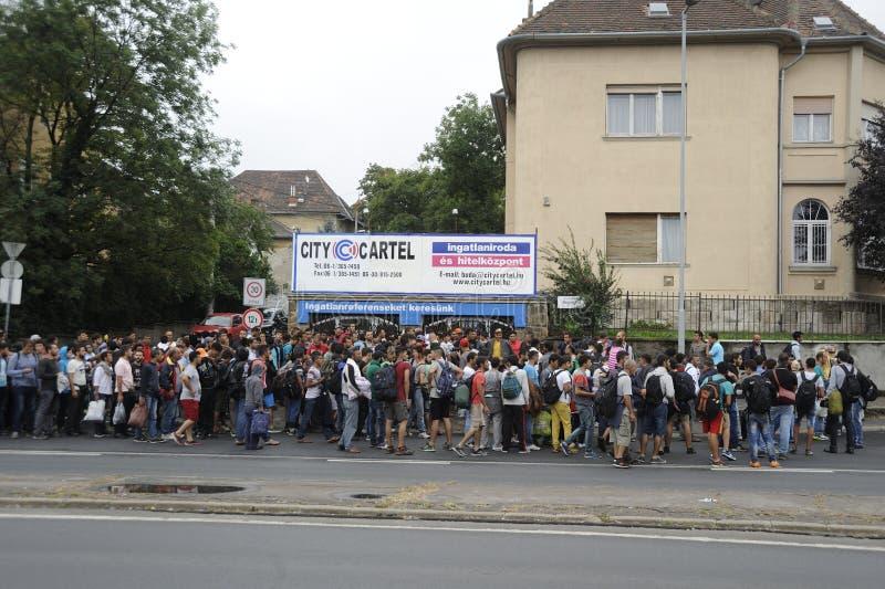 Refugiados en Hungría imágenes de archivo libres de regalías