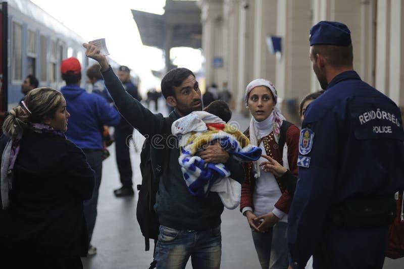Refugiados en Hungría foto de archivo libre de regalías
