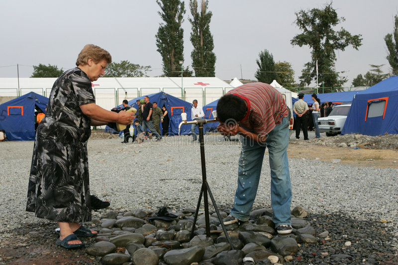 Refugiados georgianos en Gori fotografía de archivo