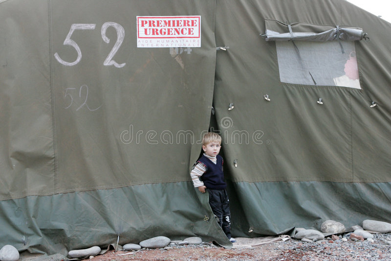Refugiados georgianos en Gori imágenes de archivo libres de regalías