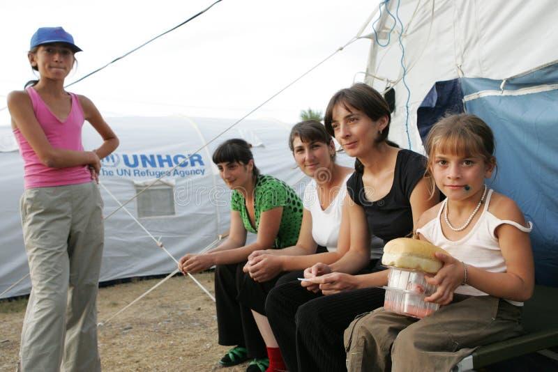 Refugiados georgianos en Gori foto de archivo libre de regalías