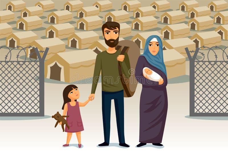 Refugiados infographic Assistência social para refugiados Família árabe Molde do projeto Conceito da imigração dos refugiados ilustração royalty free