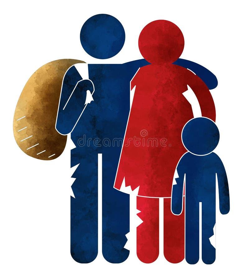 Refugiados, inmigrantes, inmigrantes ilegales, centros de recepción, familias stock de ilustración
