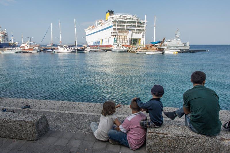 Refugiados sirios, isla de Kos imagen de archivo libre de regalías