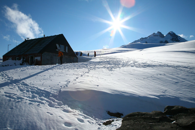 Refugio d'Otto Meiling sur Mt. Tronador, Patagonia photo stock