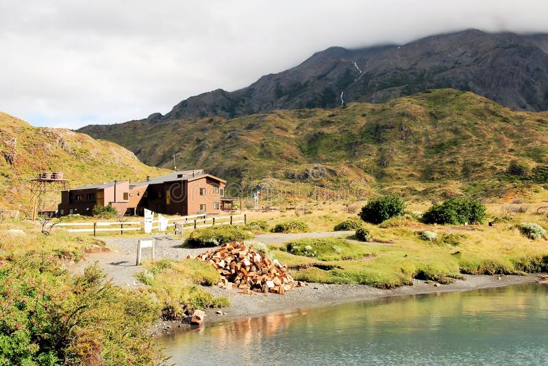 Refugio Paine Grande - Torres del Paine National Park - Chilean Patagonia. Refugio Paine Grande located in Torres del Paine National Park at lake Pehoe - Parque stock images